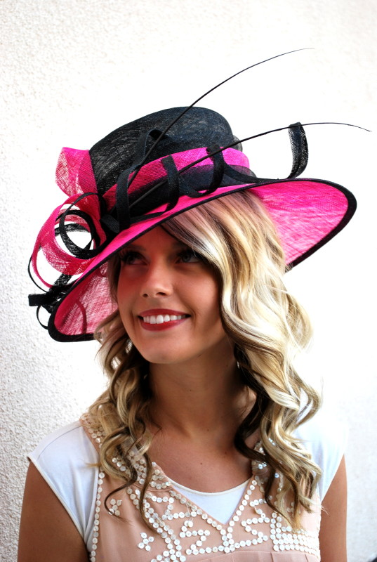 Oh Yes Derby Hats Belong At Weddings Too For The Sophisticated Wedding Guest Treat Yourself To Pretty Pink And Black Style With This Modern Hand